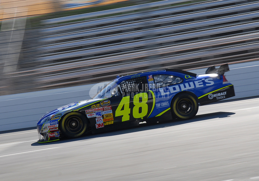 Mar 30, 2007; Martinsville, VA, USA; Nascar Nextel Cup Series driver Jimmie Johnson (48) during practice for the Goody's Cool Orange 500 at Martinsville Speedway. Martinsville marks the second race for the new car of tomorrow. Mandatory Credit: Mark J. Rebilas