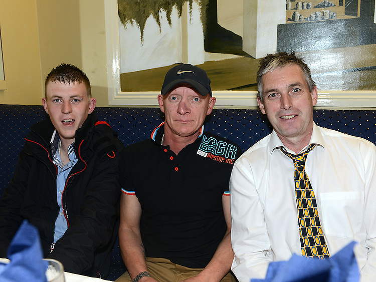Coleman Bolger, Paul Kearney and Michael Durnin pictured at the Lannleire GFC awards dinner in the Grove hotel. Photo:Colin Bell/pressphotos.ie