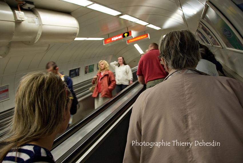 Central Europe, Hungary, Budapest 2007/04: Budapest subway.An escalator inside Budapest metro.