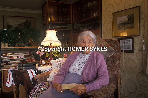 """Gurtrude Bugler in her nineties at her home in Dorset. As a young actress in 1924 she played Tess in """"Tess of the D'Urbervilles"""" at the Duke of Yorks Theatre London. Friend of Thomas Hardy. """" Circa 1980s."""