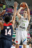 Slovenia's Domen Lorbek (r) and USA's Anthony Davis during 2014 FIBA Basketball World Cup Quarter-Finals match.September 9,2014.(ALTERPHOTOS/Acero)