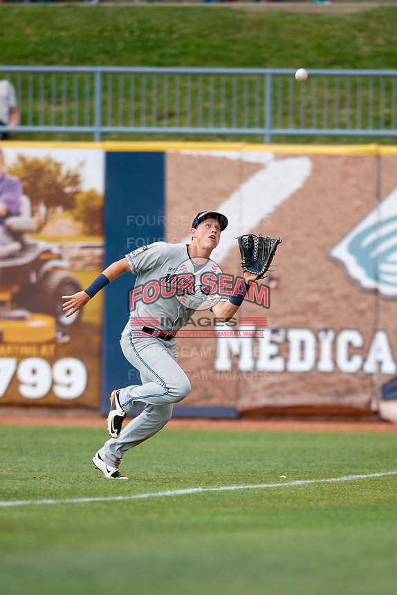 West Michigan Whitecaps right fielder Cole Bauml (16) tracks a fly ball during the first game of a doubleheader against the Lake County Captains on August 6, 2017 at Classic Park in Eastlake, Ohio.  Lake County defeated West Michigan 4-0.  (Mike Janes/Four Seam Images)