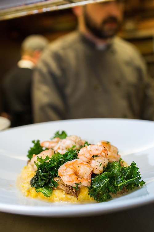 Raleigh, North Carolina - Thursday January 28, 2016 - Shrimp and Grits, one of the offerings on 18 Seaboard's restaurant week menu, is ready to go out to the dining room at the restaurant in Raleigh.