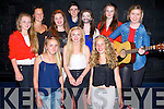FINALS: Waterville Youth Club who made the Youth Factor Finals at Tintean Theatre,Ballybunion on Sunday Front l-r: Gina O'Shea,Emer Curran,Alana O'Shea, Georgina O' Dwyer, back l-r: Sinead Clifford,Caoimhe O'Sullivan,Darren O'Donoghue,Caithin O'Neill,Donna Fitzgerald and Jacqui Clifford.