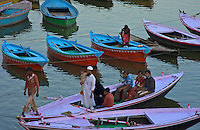 Boats at the River Ganges Varanasi India