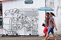 Malaysia, Penang. Old Georgetown Streets - a UNESCO World Heritage site. Love Lane, funny mural installations.