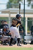 Pittsburgh Pirates catcher Ramon Cabrera (28) during an Instructional League game against the New York Yankees on September 18, 2014 at the Pirate City in Bradenton, Florida.  (Mike Janes/Four Seam Images)