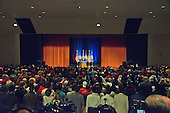 The auditorium is full as Donald J. Trump, the Republican candidate for President of the United States, makes a campaign appearance at Briar Woods High School in Ashburn, Virginia on Tuesday, August 2, 2016.<br /> Credit: Ron Sachs / CNP