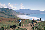 Walking dogs at Fort Funston, San Francisco, California