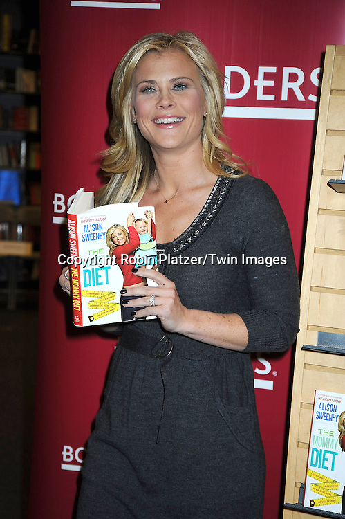 "Alison Sweeney at her book signing for .her book ""The Mommy Diet"" on .January 4, 2011 at Border's in The Time Warner Center in New York City."