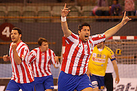 28.04.2012 MADRID, SPAIN -  EHF Champions League match played between BM At. Madrid vs  Cimos Koper (31-24) at Palacio Vistalegre stadium. The picture show Edu Fernandez (BM Atletico de Madrid)