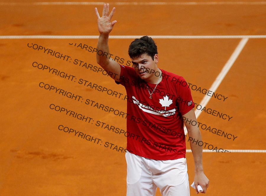 Tennis Tenis<br /> Davis Cup semifinal polufinale<br /> Serbia v Canada<br /> Janko Tipsarevic v Milos Raonic<br /> Milos Raonic reacts<br /> Beograd, 13.09.2013.<br /> foto: Srdjan Stevanovic/Starsportphoto &copy;