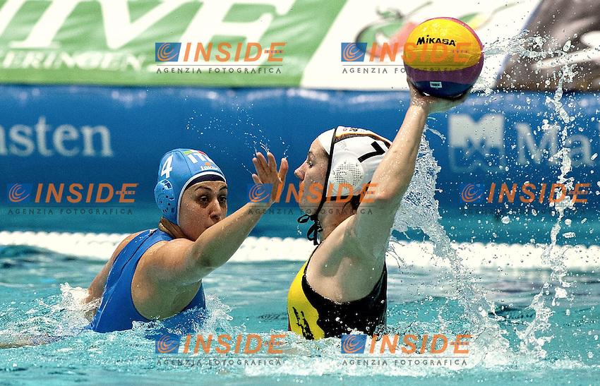 Eindhoven , Netherlands (NED) 16 - 29 January 2012.LEN European  Water Polo Championships 2012.Day 07 - Women.Germany (White) - Italia (Blue).7 KRUSZONA Monika  - 4 AIELLO Rosaria.Photo Insidefoto / Giorgio Scala