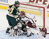 Amanda Pelkey (UVM - 21), Roxanne Douville (UVM - 34), Haley McLean (BC - 13) - The Boston College Eagles defeated the visiting University of Vermont Catamounts 2-0 on Saturday, January 18, 2014, at Kelley Rink in Conte Forum in Chestnut Hill, Massachusetts.