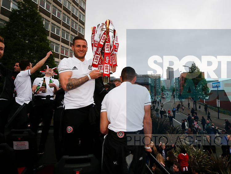 Billy Sharp of Sheffield Utd during the open top bus parade from Bramall Lane Stadium to Sheffield Town Hall, Sheffield. Picture date: May 2nd 2017. Pic credit should read: Simon Bellis/Sportimage