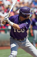 TCU Horned Frogs outfielder Dane Steinhagen (10) at bat against the Texas Tech Red Raiders in Game 3 of the NCAA College World Series on June 19, 2016 at TD Ameritrade Park in Omaha, Nebraska. TCU defeated Texas Tech 5-3. (Andrew Woolley/Four Seam Images)