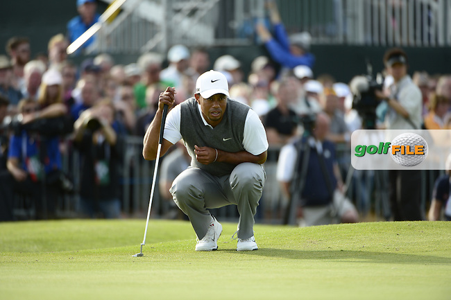 Tiger Woods (USA) lines up his putt on the 17th green during Saturday's Round 3 of the 141st Open Championship at Royal Lytham & St.Annes, England 21st July 2012 (Photo Eoin Clarke/www.golffile.ie)