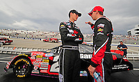 May 31, 2008; Dover, DE, USA; Nascar Nationwide Series driver Joey Logano (left) talks with teammate Denny Hamlin prior to the Heluva Good 200 at the Dover International Speedway. Mandatory Credit: Mark J. Rebilas-US PRESSWIRE
