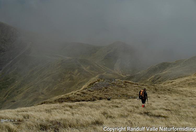 Jente på ås, tåke på vei inn ---- Girl on hill, mist on the way