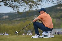 Matt Fitzpatrick (ENG) takes a seat while waiting to tee off on 12 during day 2 of the World Golf Championships, Dell Match Play, Austin Country Club, Austin, Texas. 3/22/2018.<br /> Picture: Golffile | Ken Murray<br /> <br /> <br /> All photo usage must carry mandatory copyright credit (&copy; Golffile | Ken Murray)