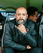 31st October 2017, Carrow Road, Norwich, England; EFL Championship football, Norwich City versus Wolverhampton Wanderers; Wolves manager Nuno Espirito Santo takes his seat before the match