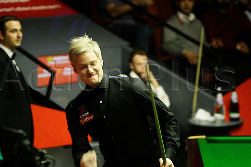 30.04.2014. Sheffield, England. Aussie Neil Robertson makes snooker history with his hundredth 100+ break at the 2014 Dafabet World Snooker Championship quarter-final,  against Judd Trump, Crucible Theatre, Sheffield, Yorkshire, England.
