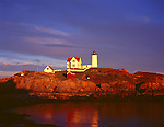 York County, ME<br /> Cape Neddick (&quot;Nubble&quot;) Light Station (1879) under approaching storm clouds at low tide
