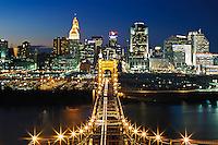 View from top of John A. Roebling Bridge between Cincinnati, OH and Covington, Kentucky