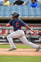 Dwanya Sutton-Williams (10) of Greenfield High School in Lucama, North Carolina playing for the Cleveland Indians scout team during the East Coast Pro Showcase on July 31, 2014 at NBT Bank Stadium in Syracuse, New York.  (Mike Janes/Four Seam Images)