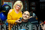 Martin O'Brien from Harvey Normans getting the full treatment from Ann Flood (The Barber Ashe St) in aid of the Shave Wax or Dye for the Peter McFlurry Trust in the Greyhound Bar on Saturday night last.