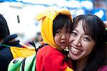 October 31, 2012, Tokyo, Japan - Japanese kid and her mother pose for pictures during Kichijoji Halloween Festival 2012 near the Kichijoji station, Tokyo Japan. (Photo by Yumeto Yamazaki/AFLO)