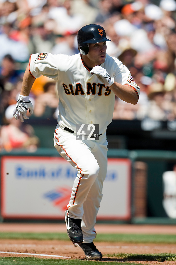 13 April 2008: #21 John Bowker of the Giants runs to first base as he hits an homerun becoming the first San Francisco player to homer in his first two games during the San Francisco Giants 7-4 victory over the St. Louis Cardinals at the AT&T Park in San Francisco, CA.