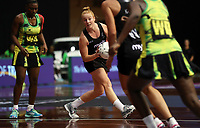 24.02.2018 Silver Ferns Samantha Sinclair in action during the Silver Ferns v Jamaica Taini Jamison Trophy netball match at the North Shore Events Centre in Auckland. Mandatory Photo Credit ©Michael Bradley.