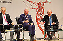 Former British Prime Minister Tony Blair, Former US President Clinton listens to Former US Senator George J. Mitchell laugh during a panel discussion at Queen's University Belfast, Tuesday, April 10th, 2018. Tuesday marks 20 years since politicians from Northern Ireland and the British and Irish governments agreed what became known as the Good Friday Agreement. It was the culmination of a peace process which sought to end 30 years of the Troubles. Two decades on, the Northern Ireland Assembly is suspended in a bitter atmosphere between the two main parties. Photo/Paul McErlane