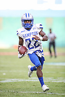 Washington, DC - September 16, 2016: Hampton Pirates running back Yahkee Johnson (22) runs in for a touchdown during game between Hampton and Howard at  RFK Stadium in Washington, DC. September 16, 2016.  (Photo by Elliott Brown/Media Images International)