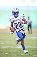 Washington, DC - September 16, 2016: Hampton Pirates running back Yahkee Johnson (22) runs in for a touchdown during game between Hampton and Howard at  RFK Stadium in Washington, DC. September 16, 2016.  (Photo by Elliott Brown/Media Images International)
