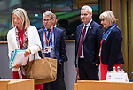 BRUSSELS - BELGIUM - 21 June 2019 -- European Council, summit meeting with heads of state. -- Antti Rinne Prime Minister of Finland entering the meeting room with Ambassador Marja Rislakki, Permanent Representative to the EU and members of delegation. -- PHOTO: Juha ROININEN / EUP-IMAGES