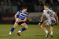 Rhys Priestland of Bath Rugby in possession. Premiership Rugby Cup match, between Bath Rugby and Gloucester Rugby on February 3, 2019 at the Recreation Ground in Bath, England. Photo by: Patrick Khachfe / Onside Images