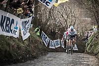 Dylan Van Baarle (NED/Team Sky) leading the race up the Koppenberg. <br /> <br /> 102nd Ronde van Vlaanderen 2018<br /> 1day race: Antwerp › Oudenaarde - BEL (265k)
