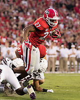 Athens, GA - September 16, 2017: The 11th ranked University of Georgia Bulldogs host the number 17 ranked Mississippi State Bulldogs at Sanford Stadium.