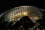 The roof of the Esplanade Theatres On The Bay lit up at night, Marina Bay, Singapore