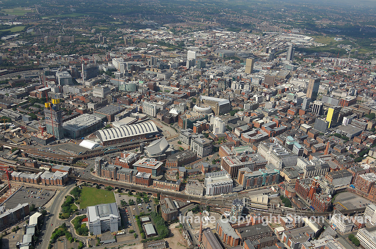 Aerial views of Manchester including Central Library and Beetham Tower Hilton Hotel