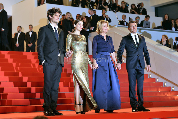 Louis Garrel, Marion Cotillard, Nicole Garcia and Alex Brendemuehl at the &acute;Mal de Pierres` screening during The 69th Annual Cannes Film Festival on May 15, 2016 in Cannes, France.<br />