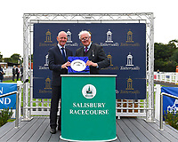 Connections of Sea of Faith receive their trophy after winning The British EBF Premier Fillies' Handicap during Horse Racing at Salisbury Racecourse on 15th August 2019