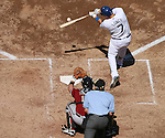 Los Angeles Dodger James Loney gets a base hit during a game against the Arizona Diamondbacks at Dodger Stadium on September 16, 2007.