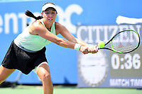 Washington, DC - August 4, 2019: Jessica Pegula (USA) stretches out to return the ball against Camila Giorgi (ITA)  NOT PICTURED during the WTA Citi Open Woman's Finals at Rock Creek Tennis Center, in Washington D.C. (Photo by Philip Peters/Media Images International)