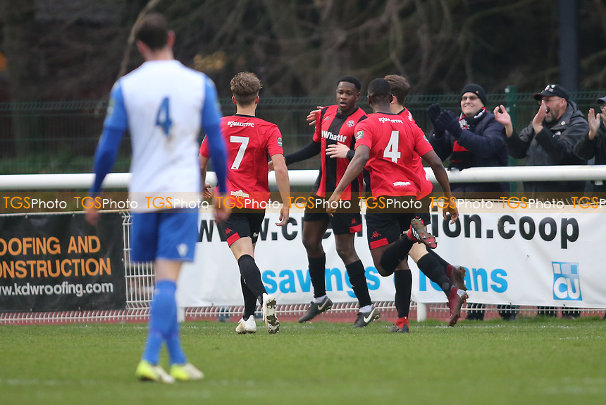 Omar Lawson Of Lewes scores and celebrates during Enfield Town vs Lewes, Bostik League Premier Division Football at the Queen Elizabeth II Stadium on 5th January 2019