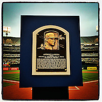 OAKLAND, CA - AUGUST 9: Instagram of Tony La Russa's Hall of Fame plaque on the field before the game between the Minnesota Twins and Oakland Athletics at O.co Coliseum on August 9, 2014 in Oakland, California. Photo by Brad Mangin