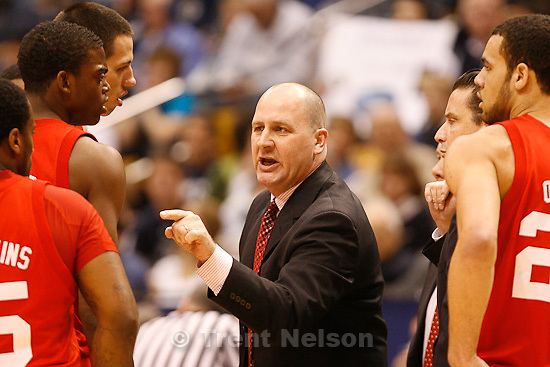 Trent Nelson  |  The Salt Lake Tribune.Utah coach Jim Boylen during a timeout in the first half at BYU vs. Utah, college basketball in Provo, Utah, Saturday, February 12, 2011.