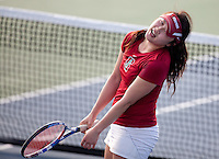 STANFORD, CA - April 14, 2011: Veronica Li of Stanford women's tennis reacts to a play during Stanford's dual against St. Mary's. Stanford won 6-1. Li defeated Saint Mary's Claire Soper 6-1, 6-1.